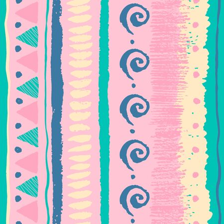 pastel colors: Seamless ethnic pattern with grunge hand drawn elements, triangles, spirals, dots and soft pastel colors.