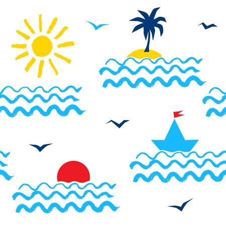 Retro 1980er Sommer Urlaub am Meer nahtlose Muster mit Sonne, Meer, Palmen, Yacht und Möwen gestylt.