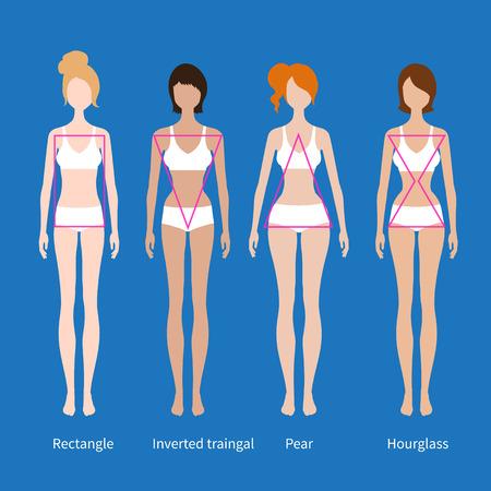 type: Vector illustrations of female body types on blue background. Illustration