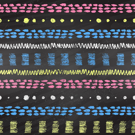 daubs: Hand drawn grunge color chalked seamless pattern with stripes, zigzag, paint daubs and dots on black chalkboard background. Illustration