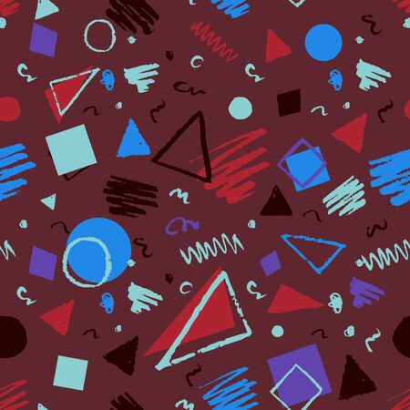 vinous: Seamless geometric 1980s styled pattern with triangles, circles, squares and doodles in vinous and blue colors. Illustration
