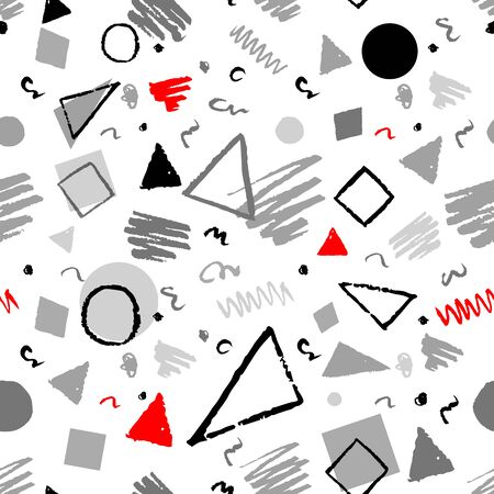Fabric Texture: Red, gray and white seamless geometric 1980s styled pattern with triangles, circles, squares and doodles.