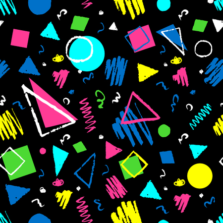Dark seamless geometric 1980s styled pattern with triangles, circles, squares and doodles. Illustration