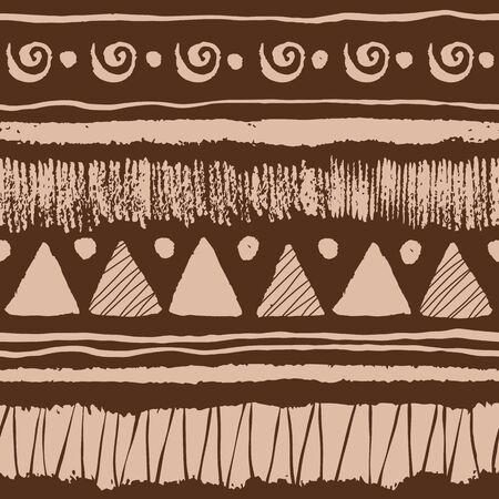 Modelo étnico sin fisuras con el grunge dibujados a mano elementos, triángulos, puntos y rayas.