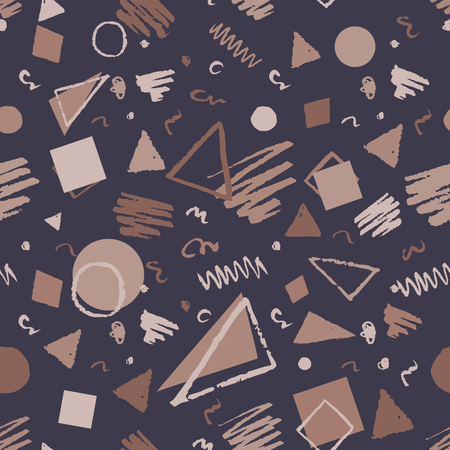 Fabric Texture: Brown vintage seamless geometric pattern with triangles, circles, squares and doodles.