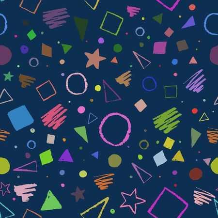 fabric pattern: Dark seamless geometric 1980s styled pattern with triangles, circles, squares and doodles. Illustration