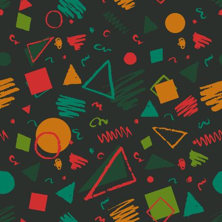 verde scuro 1980 geometrici senza soluzione di continuità in stile modello a triangoli, cerchi, quadrati e scarabocchi.