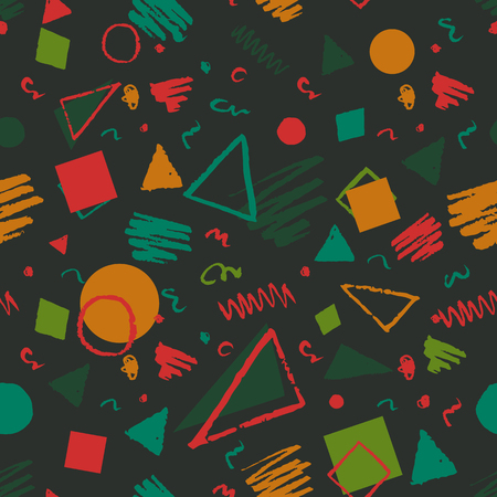 Fabric Texture: Dark green seamless geometric 1980s styled pattern with triangles, circles, squares and doodles.