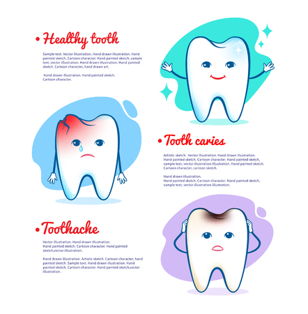 dientes caricatura: Ilustración del vector de dolor de muelas, las caries dentales y el concepto diente sano.