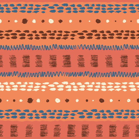 daubs: Hand drawn ethnic grunge seamless pattern with stripes, zigzag, paint daubs and dots.