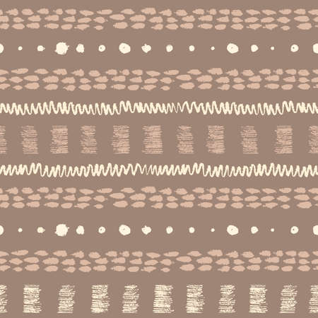 daubs: Vintage hand drawn ethnic grunge seamless pattern with stripes, zigzag, paint daubs and dots.