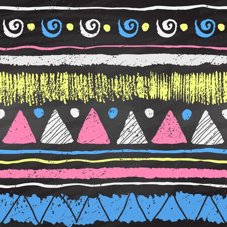 tribal pattern: Hand drawn grunge ethnic color chalk seamless pattern with triangles, spirals, dots and stripes on black chalkboard background.