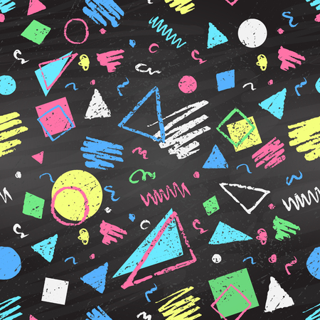 fabric texture: Geometric hand drawn grunge color chalked seamless pattern with triangles, squares and circles on black chalkboard background.