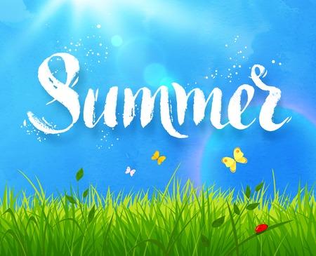Summer woord hand gemaakt grunge textuur belettering op zonlicht weide achtergrond met gras, blauwe lucht en vlinders. Vector Illustratie