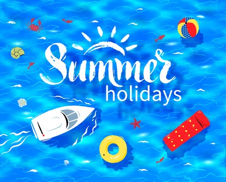 sea view: Hand drawn Summer word lettering on sea water background with rubber ring, pool raft and beach ball. Illustration