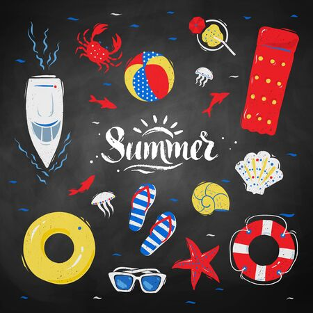 chalk board: summertime top view illustrations set with Summer word lettering on chalkboard background.