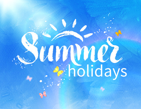 summer sky: Summer holidays hand drawn grunge lettering on sunlight rays and blue sky background.