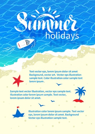 diseño del verano con las letras de la palabra verano, barco, navegar por el mar, la ondulación del agua y la arena de la playa.