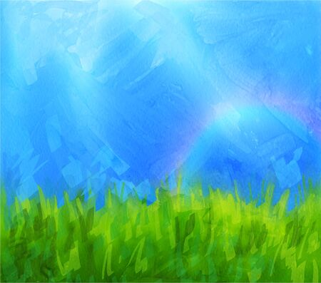 daubs: summer background with blue sky and meadow with paint daubs and gouache texture. Illustration