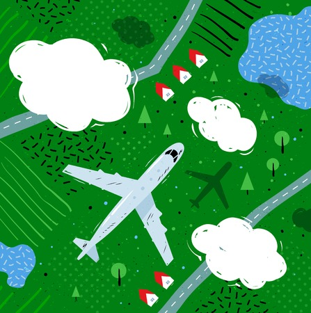 rural landscape: illustration of top view of plane flying near clouds above rural landscape with lakes, roads and houses.