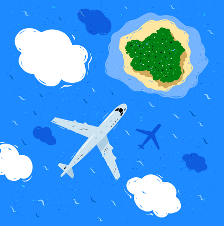 sea water: Plane flying near clouds above sea water and island.
