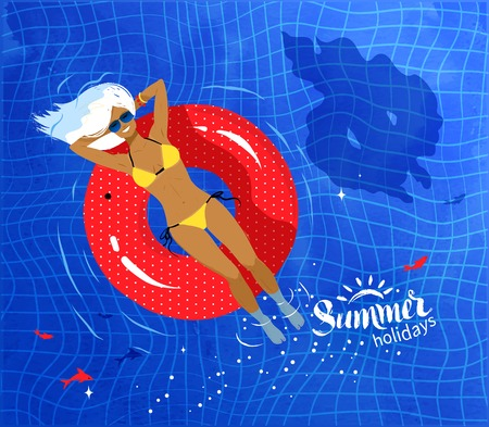rubber ring: Young woman resting on floating red rubber ring on swimming pool water background.