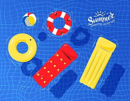 illustration of pool rafts, rubber ring, beach ball and lifebuoy floating on water.