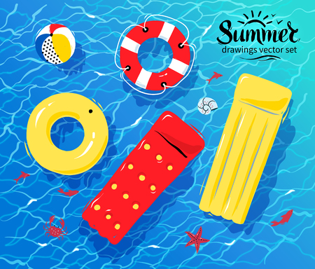 illustration of pool rafts, rubber ring, beach ball and lifebuoy floating on water. Vectores