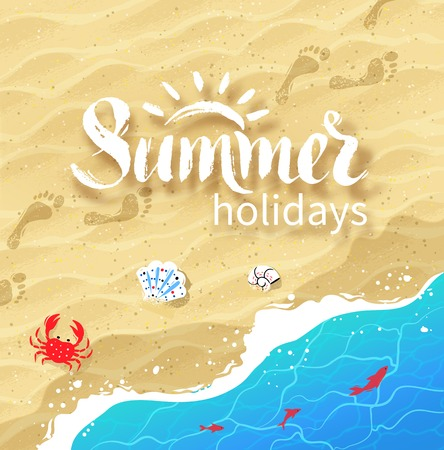 Summer word lettering on background with sea surf, shells, crab, water ripple and beach sand. Ilustracja