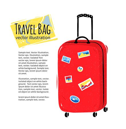 trolley case: illustration of red travel bag isolated on white background.