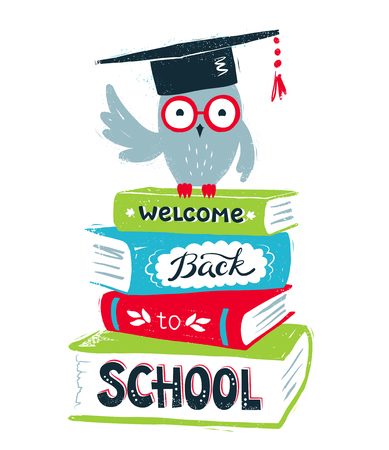 mortarboard: Vector illustration of owl wearing mortarboard sitting on books with Welcome Back to School lettering on white background.