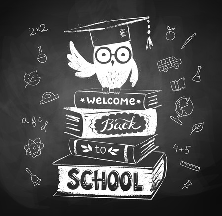 chalk drawing: Vector chalk drawing of owl sitting on books with Welcome Back to School lettering. Illustration
