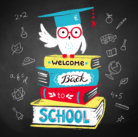mortarboard: Vector illustration of owl wearing mortarboard sitting on books with Welcome Back to School lettering on black chalkboard background.