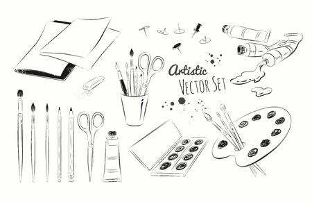 Vector black and white line art illustration set of artists supplies.