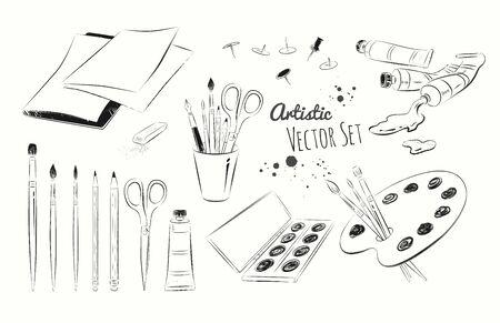 zeichnen: Vector Schwarz-Weiß-Grafik-Darstellung Reihe von Künstlern liefert. Illustration