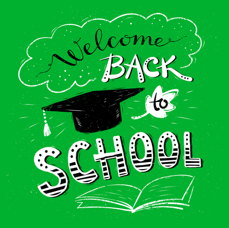 elementary schools: Welcome Back to School lettering with mortarboard on green background.