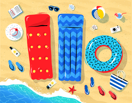Top view illustration of seaside vacation objects lying on sand near sea surf. Vettoriali