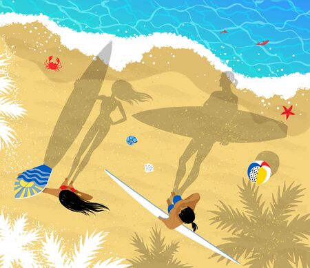 view from above: Top view vector illustration of surfers man and woman standing near water with long shadows.