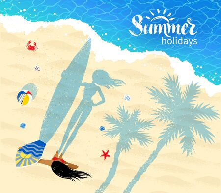 view from above: Top view vector illustration of surfer girl standing near coastline with long shadow of palm trees and beach ball.