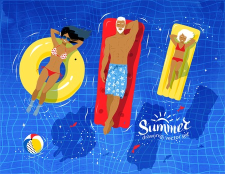 sunbathing: Vector top view illustration of young family on vacation floating on water in swimming pool.