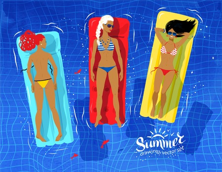 bikini top: Vector illustration of three young women floating on pool rafts and sunbathing in water. Illustration