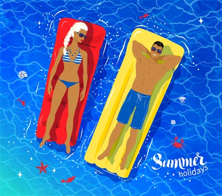 floating in water: Vector top view illustration of young couple on vacation floating on pool rafts on sea water. Illustration