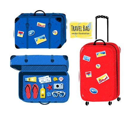 opened bag: Vector set of travel bag and suitcases with stickers closed and  opened with seaside accessories.