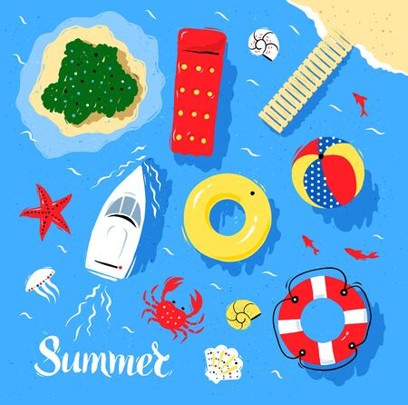 Marine top view vector set of sea and beach items and objects. Illustration