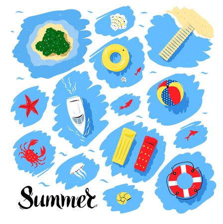 Summer seaside vacation top view vector set with water scribble backgrounds.