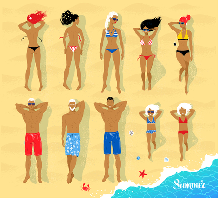 view from above: Top view vector set of sunbathing people lying on beach sand.