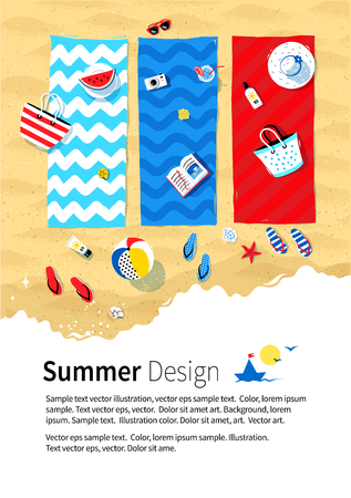 sea view: Summer vacation design with beach mats, seaside accessories on sand background and sea surf.
