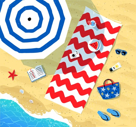 Top view vector illustration of beach mat, parasol and summer accessories lying on sand near sea surf.