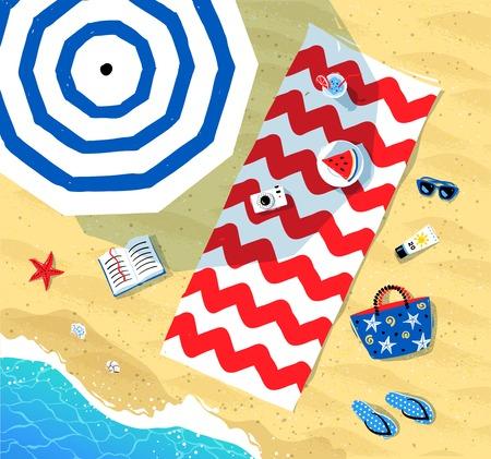 Vista superior de ilustración vectorial de accesorios estera de la playa, sombrilla y el verano se extiende sobre la arena cerca del mar de surf.