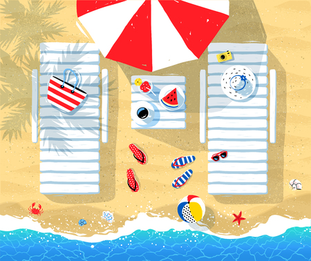 view from above: Summer vector illustration of sun beds, parasol and seaside accessories on beach sand background with sea surf. Illustration